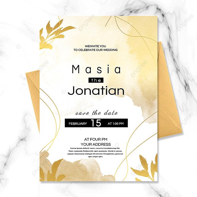 line golden wedding invitation