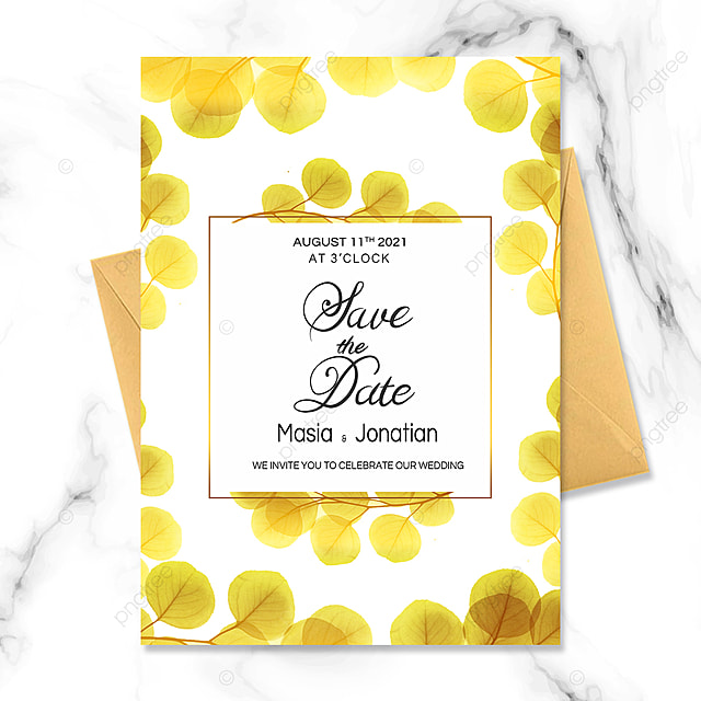 luxury golden plant wedding invitation