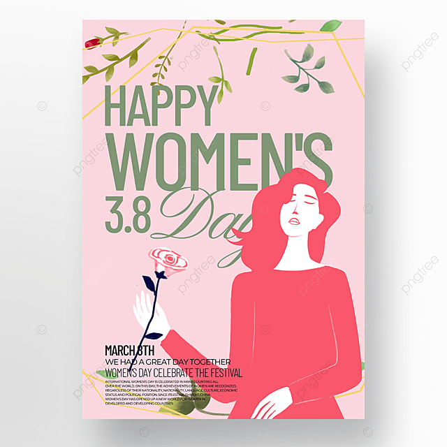 people pink background womens day template