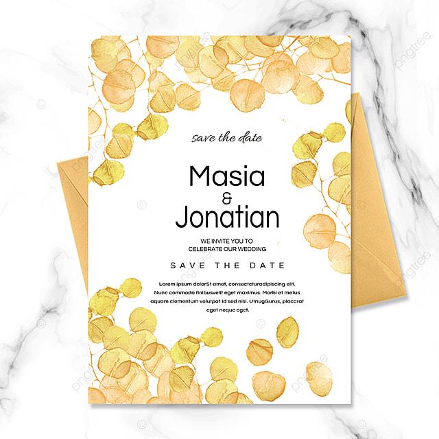 plant texture golden wedding invitation