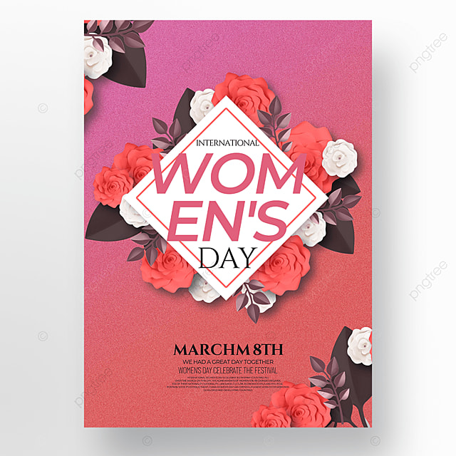 red background womens day template