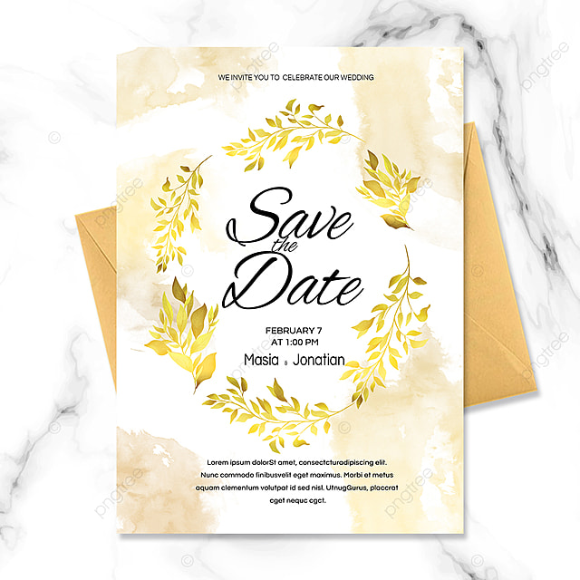 romantic golden plant border wedding invitation