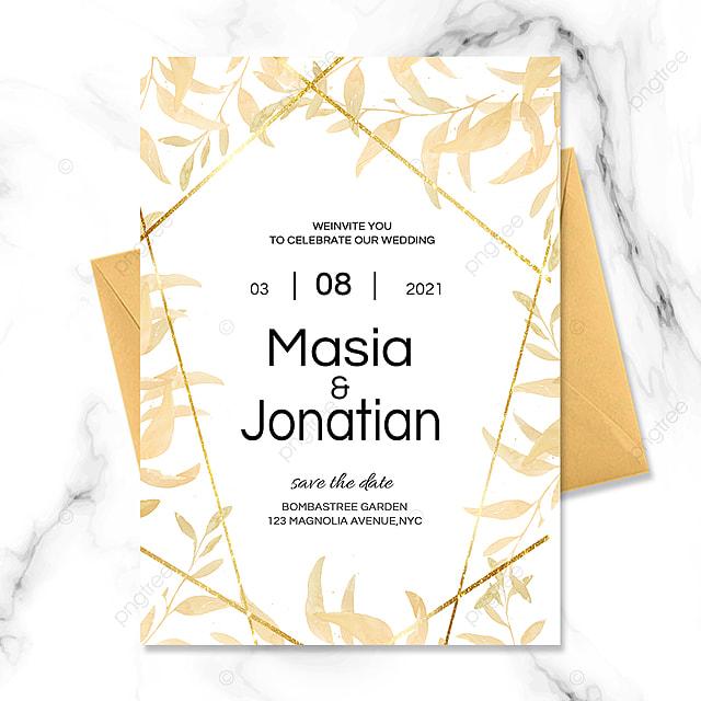romantic golden texture wedding invitation