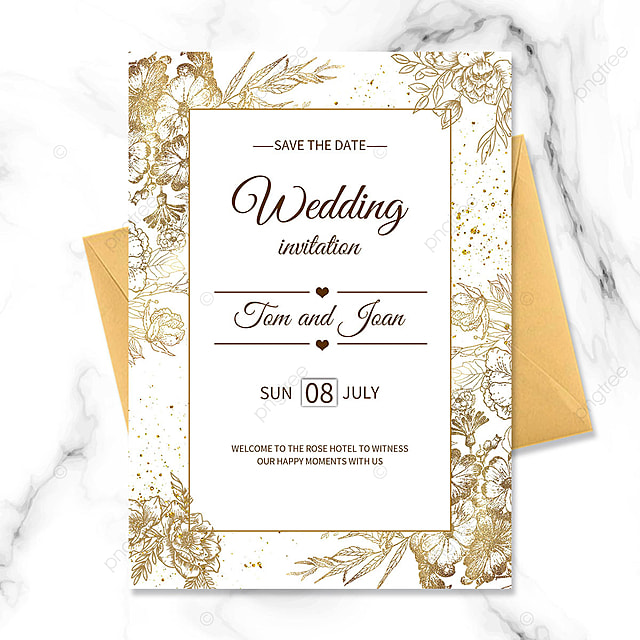 simple golden texture floral wedding blessing invitation