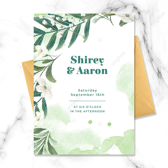 simple high end green floral watercolor blooming wedding invitation