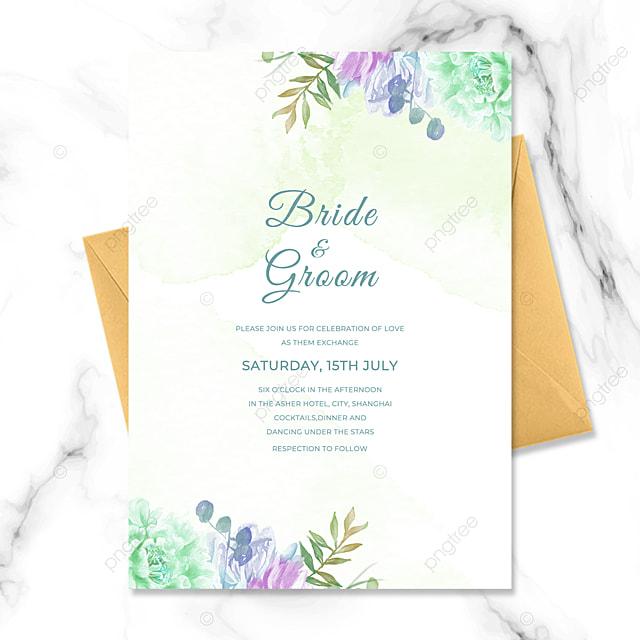 simple modern green floral watercolor blooming wedding invitation