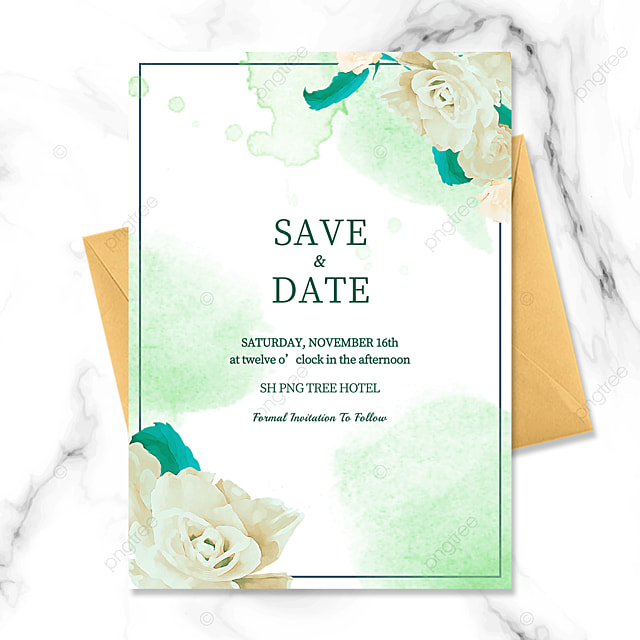 simple wire frame green floral watercolor blooming wedding invitation