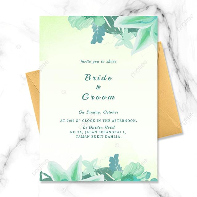 stylish modern green floral watercolor smudge wedding invitation