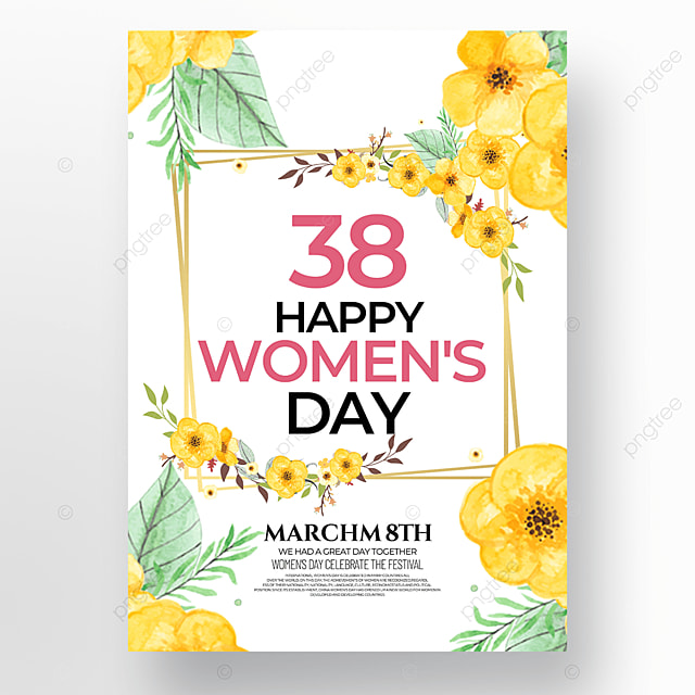 yellow flowers womens day template