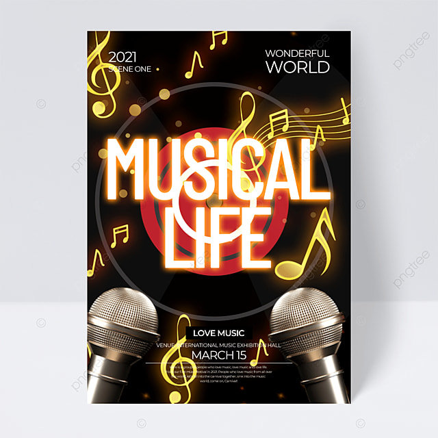 black background neon effect music festival flyer