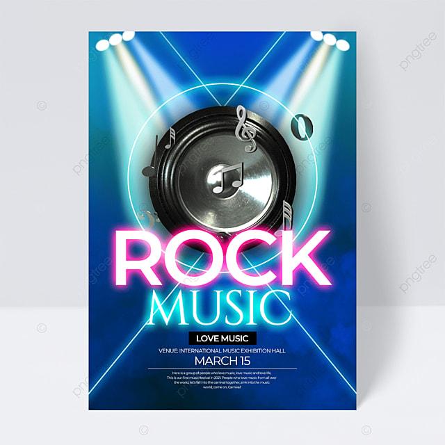 blue light neon effect music festival flyer