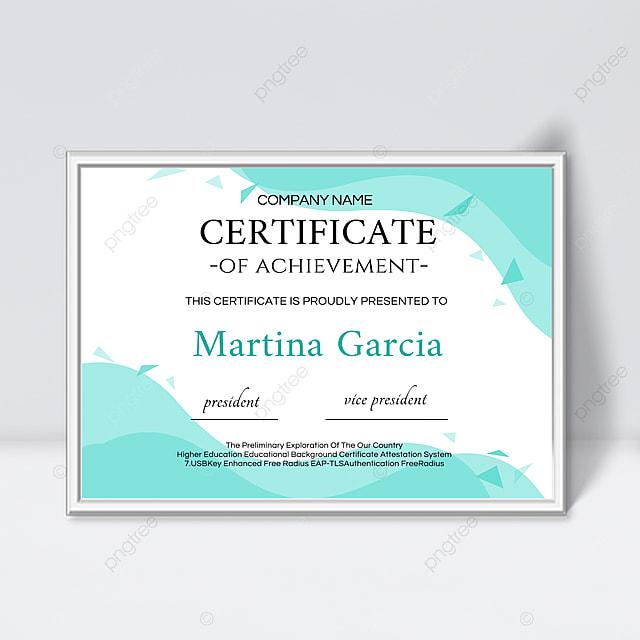 blue simple fluid shape certificate template