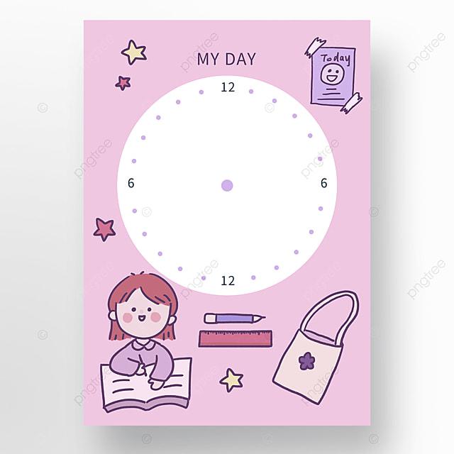 cartoon minimalistic one day study plan