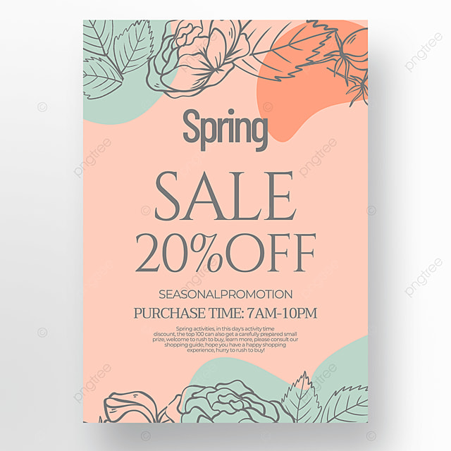 creative concise flower green plant linear draft style spring promotion poster