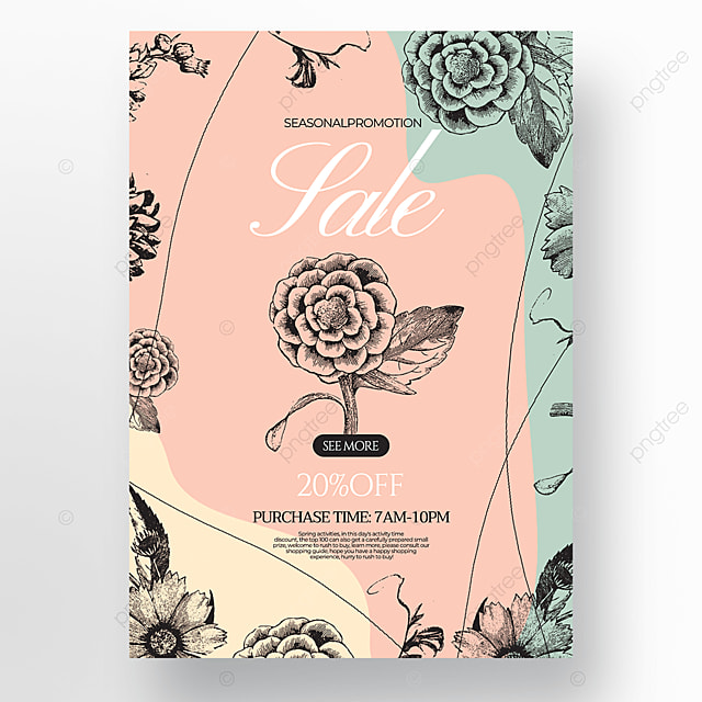 creative fashion flower green plant linear draft style spring promotion poster