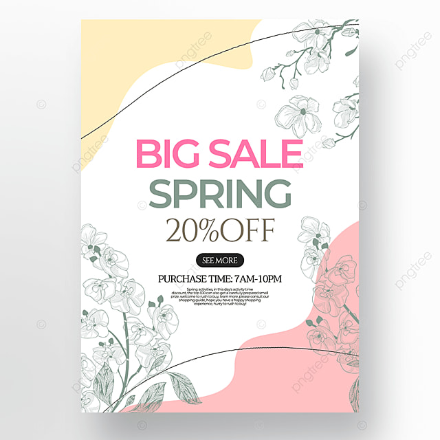 creative flower green plant linear draft style spring promotion poster