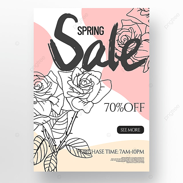creative flower line draft spring promotion poster
