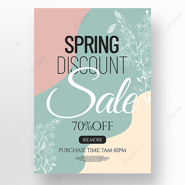 creative flower line draft style concise spring promotion poster