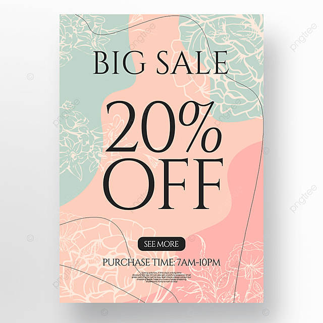 creative flower lineart style spring promotion discount poster