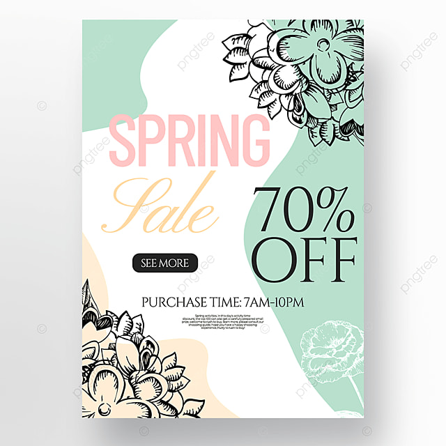 creative flower lineart style spring promotion poster