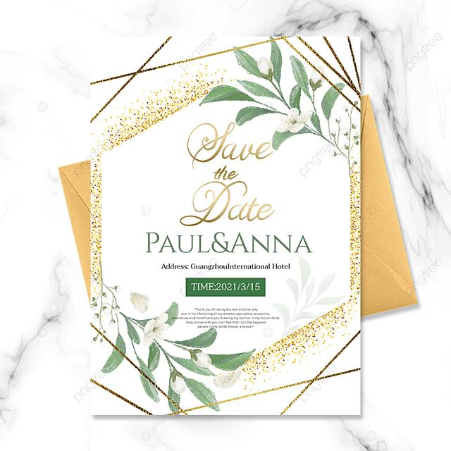 creative green plant golden line wedding invitation