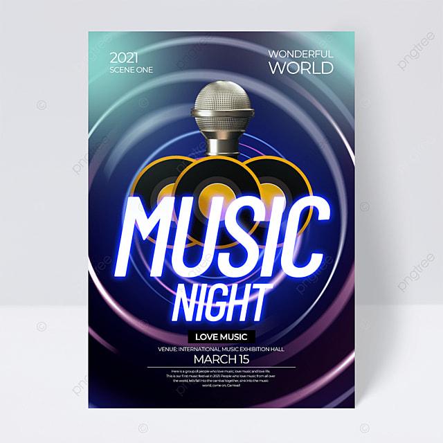 dark creative neon effect music festival flyer