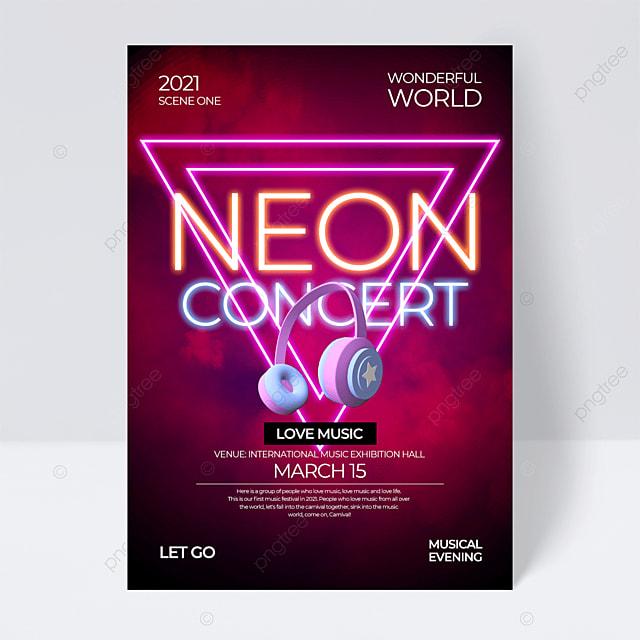 dark red creative neon effect music festival flyer