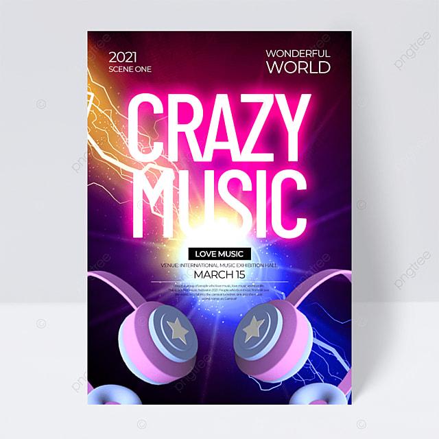 fashion creative exquisite neon effect music festival flyer