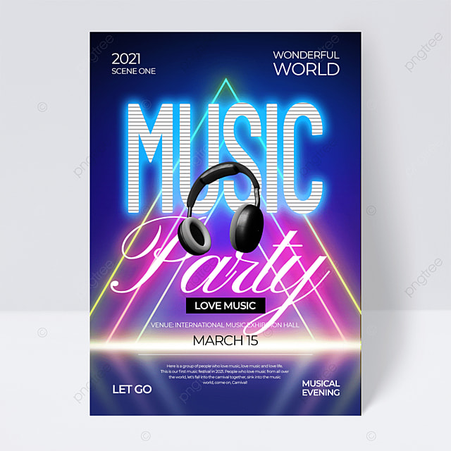 fashion creative gradient neon effect music festival flyer