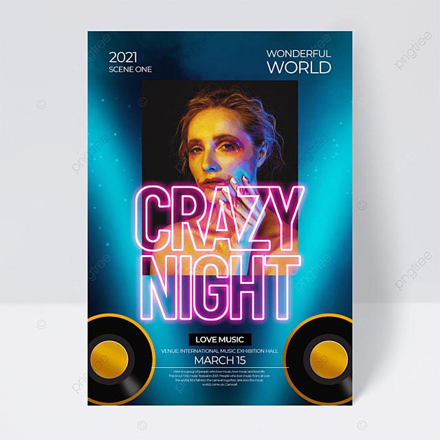 fashion creative neon effect music festival flyer