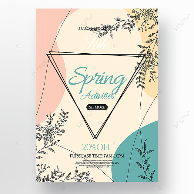 fashion flower green plant linear draft style spring promotion poster