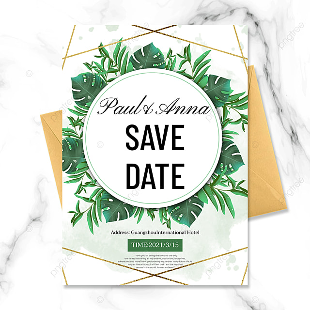 fashion green plant golden line wedding invitation