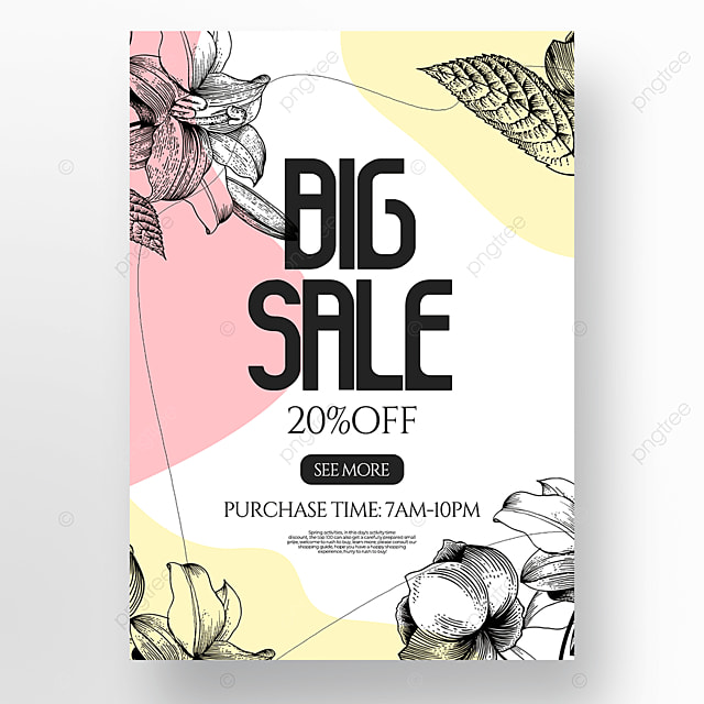 floral lineart style creative spring promotion poster