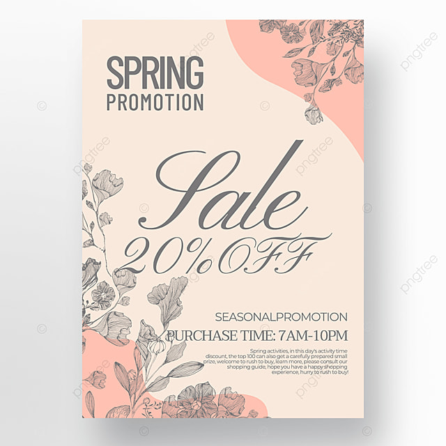 flower green plant linear draft creative style spring promotion poster