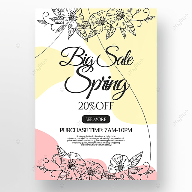 flower green plant linear draft style spring promotion poster