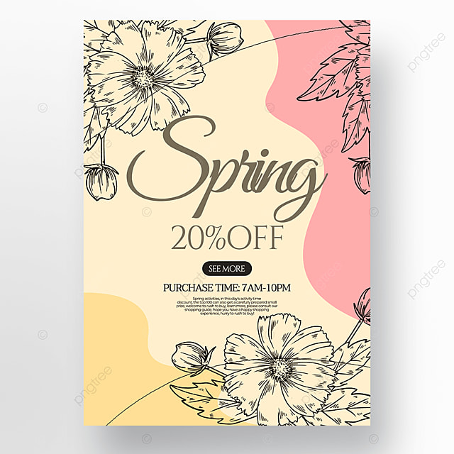 fluid flower green plant linear draft style spring promotion poster
