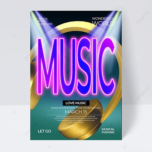 golden headphones creative neon effect music festival flyer
