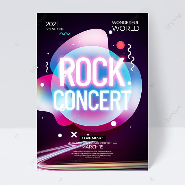 gradient neon effect music festival flyer