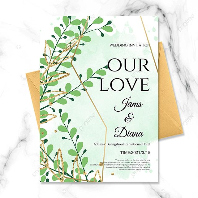 green ink plant golden line wedding invitation
