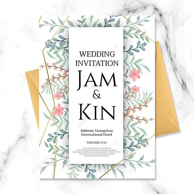 green plant creative golden line wedding invitation