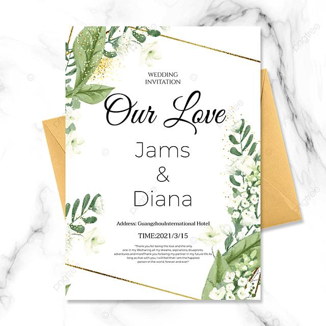 green plant golden line creative wedding invitation