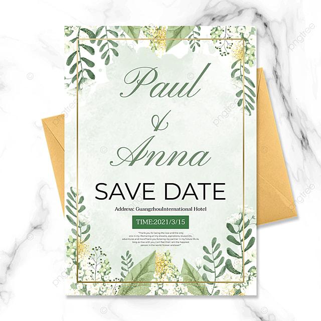 green plant golden line wedding invitation