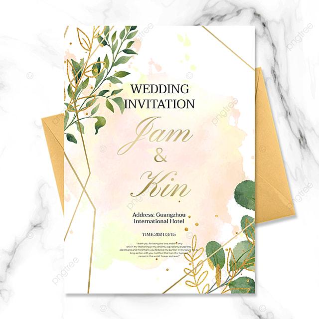 ink background fashion creative green plant golden line wedding invitation