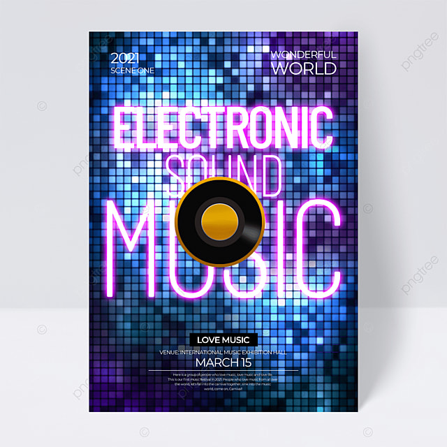 light creative neon effect music festival flyer