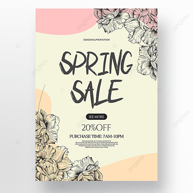 light green background flower green plant linear draft style spring promotion poster