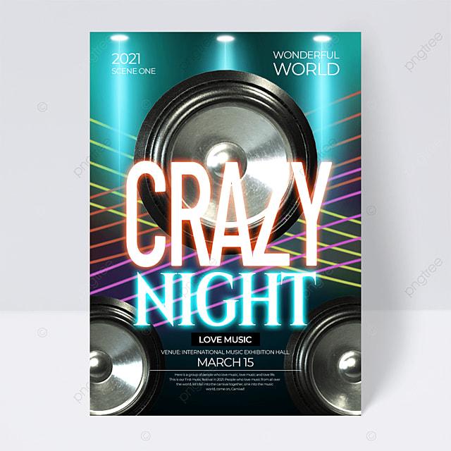 light neon effect music festival flyer