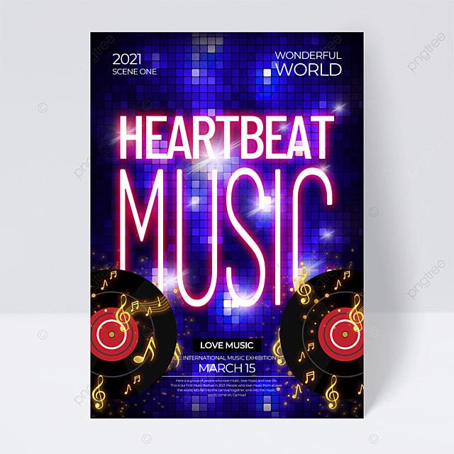 light spot neon effect music festival flyer