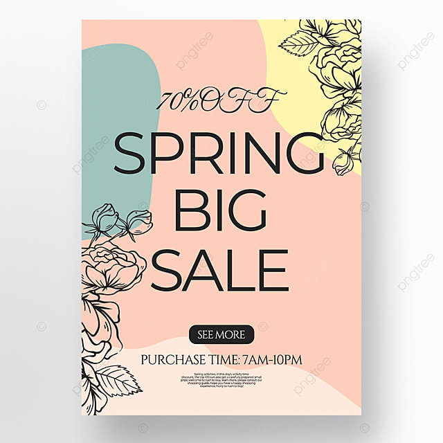 lineart style flower spring promotion poster