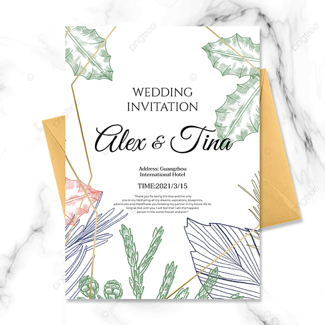 lineart style green plant golden line wedding invitation