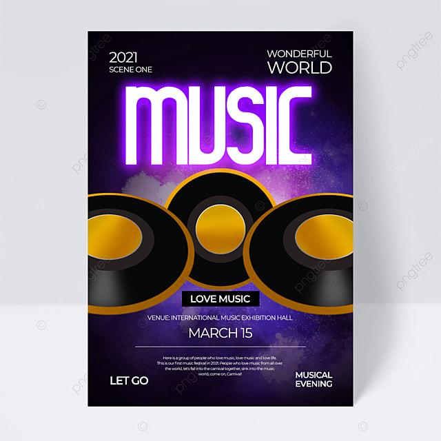 neon effect creative music festival flyer